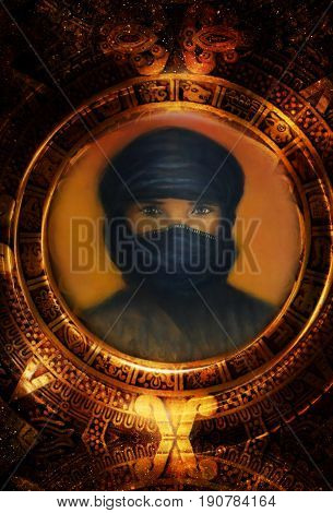arabian man in maya calendar. Cosmic space background. graphic design