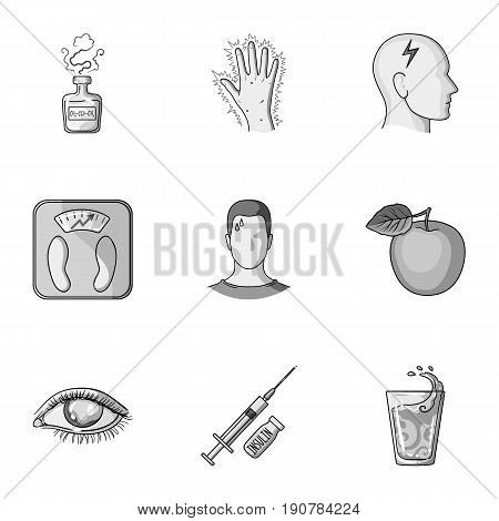 A set of icons about diabetes mellitus. Symptoms and treatment of diabetes. Diabetes icon in set collection on monochrome  vector symbol stock  illustration.