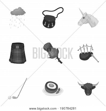 National symbols of Scotland. Scottish attractions. Scotland country icon in set collection on monochrome  vector symbol stock  illustration.