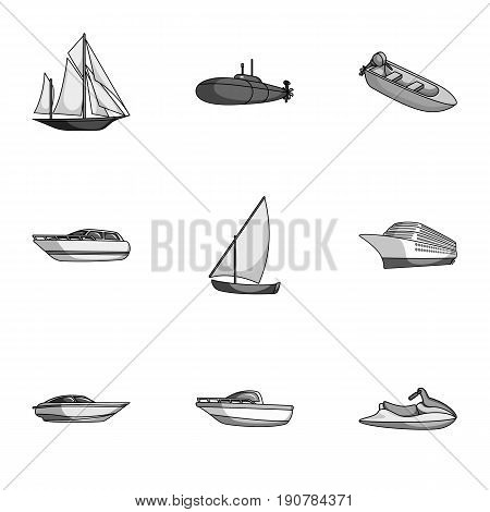 Sea transport, boats, ships. To transport people, thunderstorms. Ship and water transport icon in set collection on monochrome  vector symbol stock  illustration.