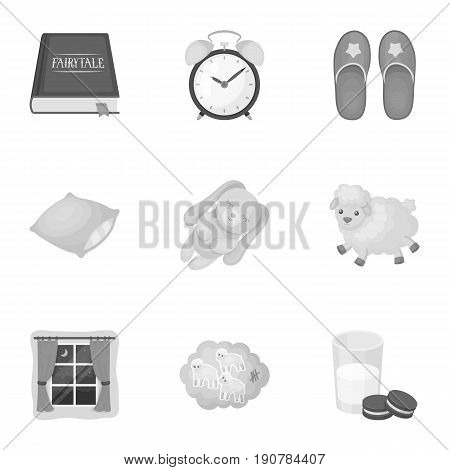 A set of pictures on a theme a dream, rest. Bed accessories for rest.Sleep and rest icon in set collection on monochrome  vector symbol stock  illustration.