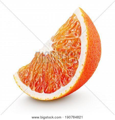 Wedge Of Blood Red Orange Citrus Fruit Isolated On White