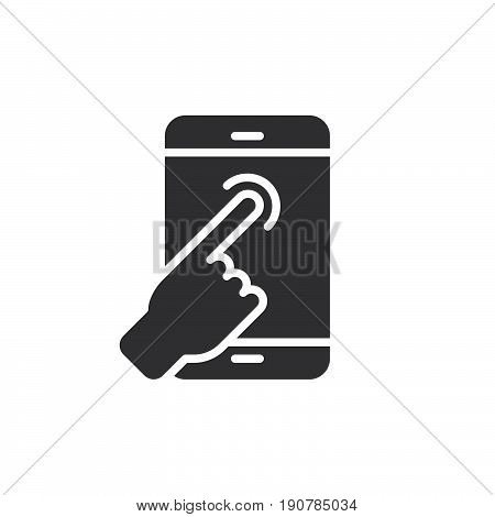 Touch screen finger tap icon vector filled flat sign solid pictogram isolated on white. Hand gesture symbol logo illustration. Pixel perfect