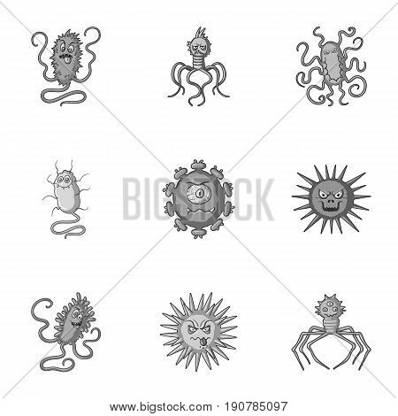A set of pictures about bacteria and viruses. Germs that are harmful to humans. viruses and bacteria icon in set collection on monochrome  vector symbol stock  illustration.