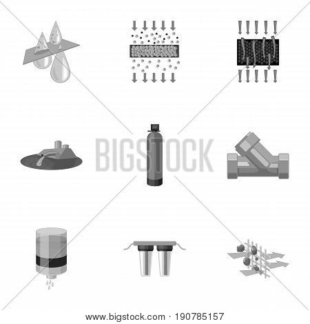 Set of icons on the theme of water. Water is the most important in the world. water filtration icon in set collection on monochrome  vector symbol stock  illustration.