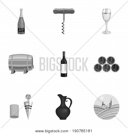 Wine products. Growing grapes, wine.Vine production icon in set collection on monochrome  vector symbol stock  illustration.