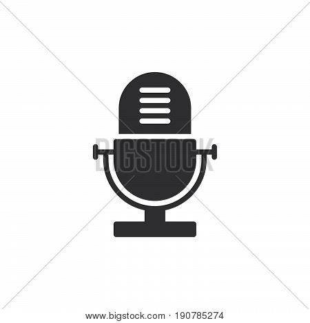 Voice recorder old microphone icon vector filled flat sign solid pictogram isolated on white. Symbol logo illustration. Pixel perfect