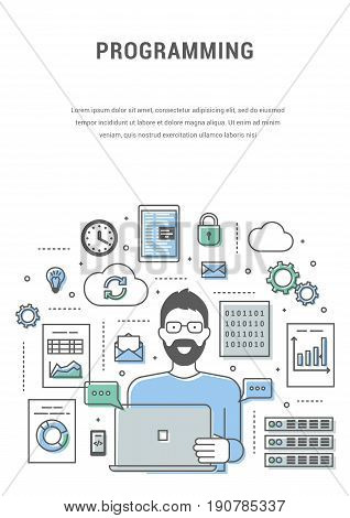 Development and programming bicolour blue green concept banner. Digital devices, man programmer creating computer software. Line flat design symbols and icons for web site, print. Vector illustration