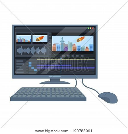 Computer with keyboard.Making movie single icon in cartoon  vector symbol stock illustration .