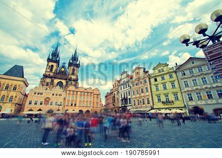 Old town of Prague with crowd of tourists. Church of Our Lady before T