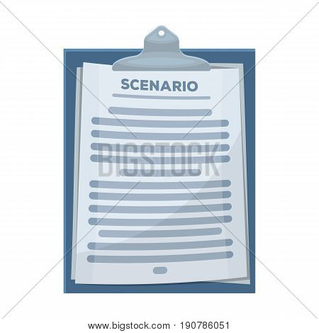 Scenario.Making movie single icon in cartoon  vector symbol stock illustration .
