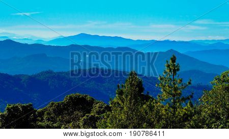 Inthanon forest lookout Chiang Mai in the Thailand
