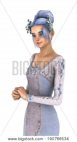 3D Rendering Princess Of Spring On White