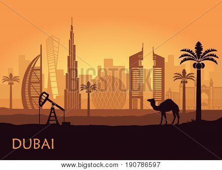Abstract skyline of Dubai at dusk. United Arab Emirates