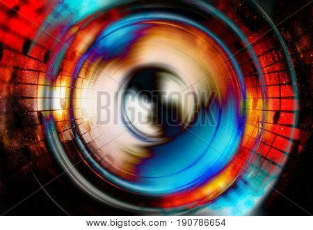 Audio music Speaker and note with color effect. Cosmic space and stars, cosmic abstract background