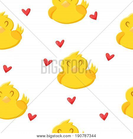 Summer pattern with cute cartoon duck and hearts. Ornament for children's textiles and wrapping. Vector illustration.