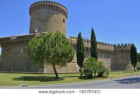 The 15th century Castle of Julius II in Ostia Antica near Rome Italy
