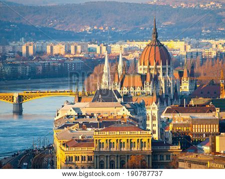 Huge dome of Hungarian Parliament Building - Orszaghaz. Budapest, Hungary.