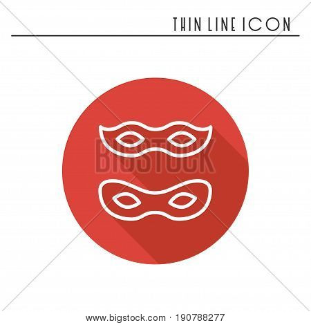Traditional venetian festive carnival icon. Party celebration masquerade birthday holidays event. Thin line party basic element icon. Vector simple linear design. Illustration. Symbols pictogram