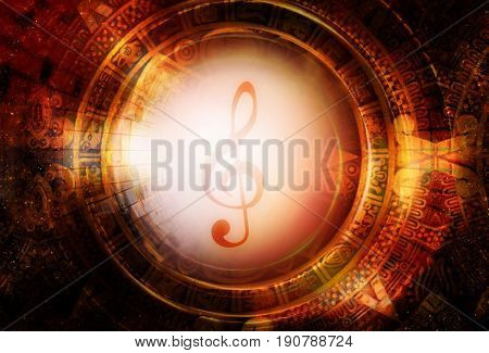 Ancient Mayan Calendar and music clef, Cosmic space with stars, abstract color Background, computer collage