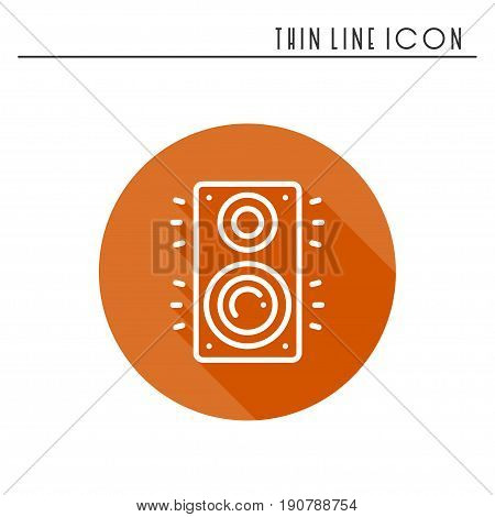 Music column audio speakers icon. Stereo music sound system cinema column. Line party element icon. Vector linear design. Illustration. Symbols, sign
