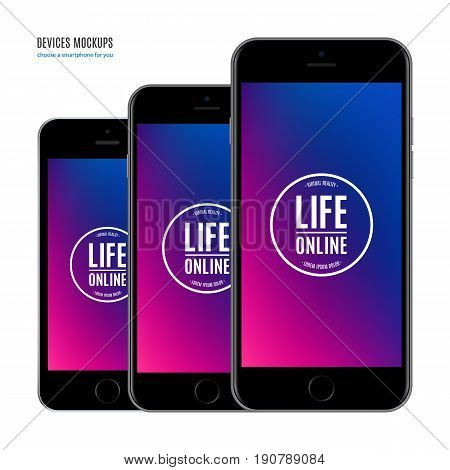 smartphone mockup set with multicolor screen isolated on white background. stock vector illustration eps10