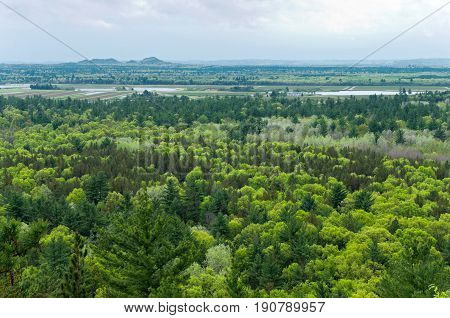 aerial view of black river state forest and cranberry bogs from atop bluff at castle mound pine forest in jackson county wisconsin