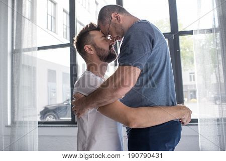 Happy Homosexual Couple Hugging And Touching Foreheads At Home