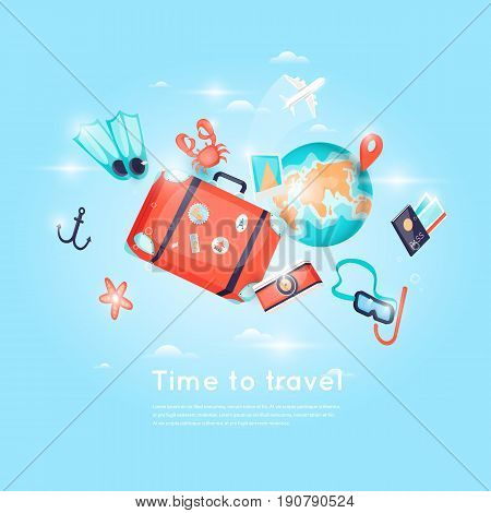 World Travel. Planning summer vacations. Holiday, journey. Tourism and vacation theme. Poster. 3D. Flat design vector illustration.