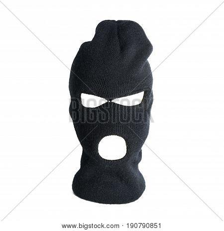 Black thief hat balaclava isolated on white