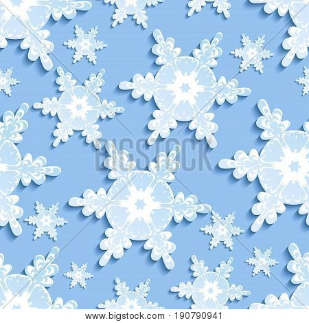 Stylish modern background seamless pattern with blue - white stylized 3d snowflakes cutting paper. Luxury winter wallpaper for New Year and Christmas. Trendy backdrop. Vector illustration.