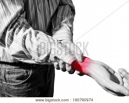 Man In Business Shirt Suffered From Wrist Pain, Arthritis
