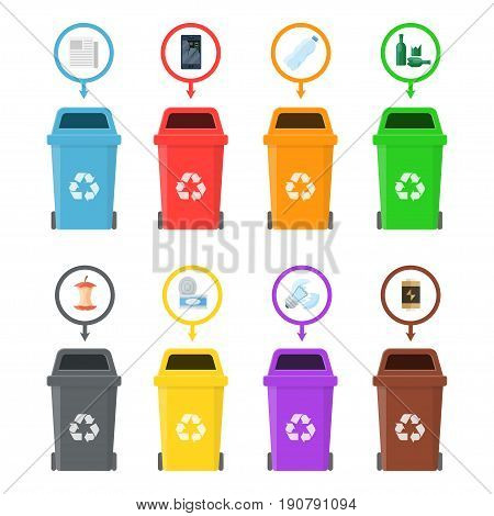 Garbage cans with sorted garbage on a white background. Sorting of food waste, paper, glass, metal, plastic and electronics. Recycling of garbage for reuse.