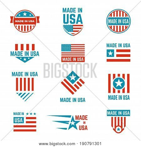 Made in USA flag emblem set, american brands and stores, products label with US content and design. Vector flat style illustration isolated on white background