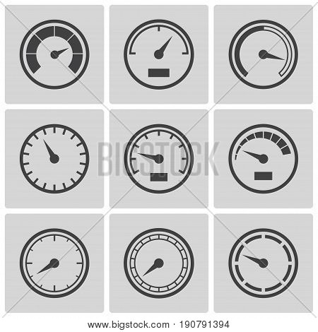 Meter icons set. Speedometer dispaly, power interface, gauge with arrow to measure speed of a vehicle, gas or oil. Vector flat style illustration, gray and black