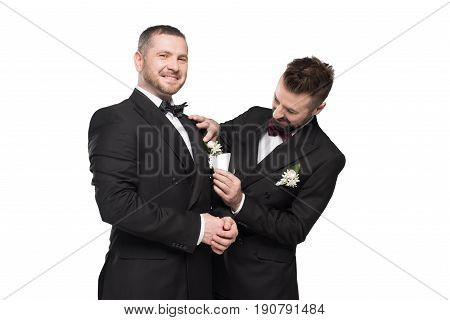 Couple Of Grooms In Tuxedos Preparing To Wedding Day Isolated On White