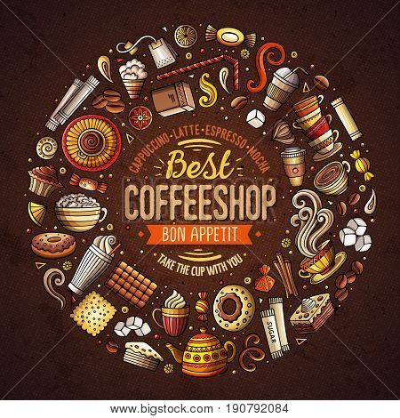 Colorful vector hand drawn set of Coffee cartoon doodle objects, symbols and items. Round frame composition
