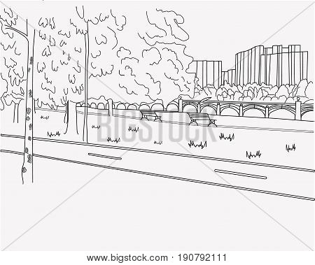 Crosswalk road graphic black white landscape sketch illustration vector sketch illustration vector