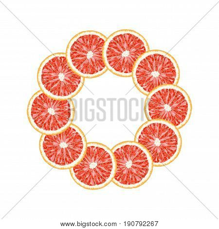 Vector round frame of grapefruit slice. Citrus frame with copy space