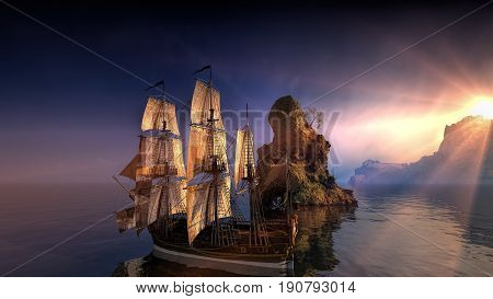 Pirate ship near a rocks formation Island on a beautiful morning day, 3d rendering