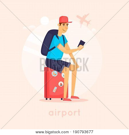 Guy sits on a suitcase at the airport. Character design. Flat vector illustration.