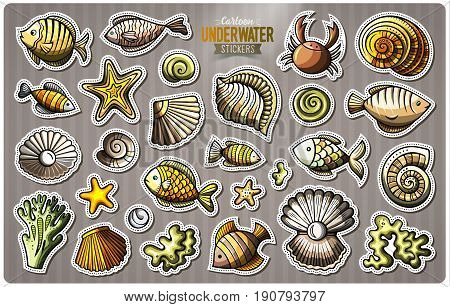 Set of underwater life cartoon stickers. Vector doodle objects and symbols collection. Label design elements. Cute patches, pins, badges series. Comic style.