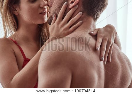 Lovers Embracing And Kissing