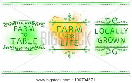 FARM FOR LIFE, FARM TO TABLE, LOCALLY GROWN. Hand drawn typographic element on green and yellow paint splash background. Green lines. Farming icons