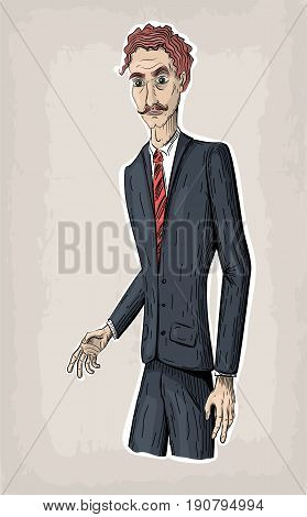 Men male person human people face portrait in suit jacket shoes tie diplomat in hand go went work business. Vector retro vintage close-up beautiful vertical illustration sign signboard front view