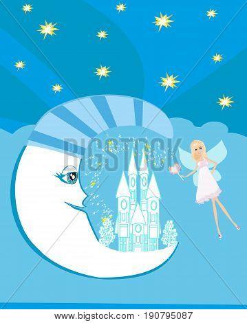 Fairy on moon abstract card , vector illustration