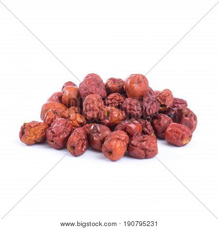 dried jujube fruits chinese herbal medicine isolated on white background