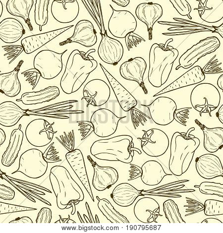 seamless pattern of vegetables contour. Vegetarian food - onion beet carrot garlic.