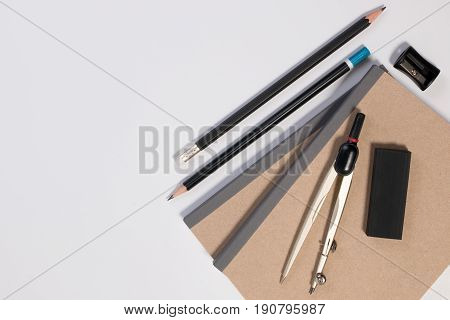 Mathematics Math Desk Or Math Office Supplies. Education Math Workplace With Pen, Notebook, Divider