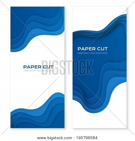 Paper cut design concept for flyers presentations and posters. Vector abstract carving art. White and blue 3D layered vertical banners.